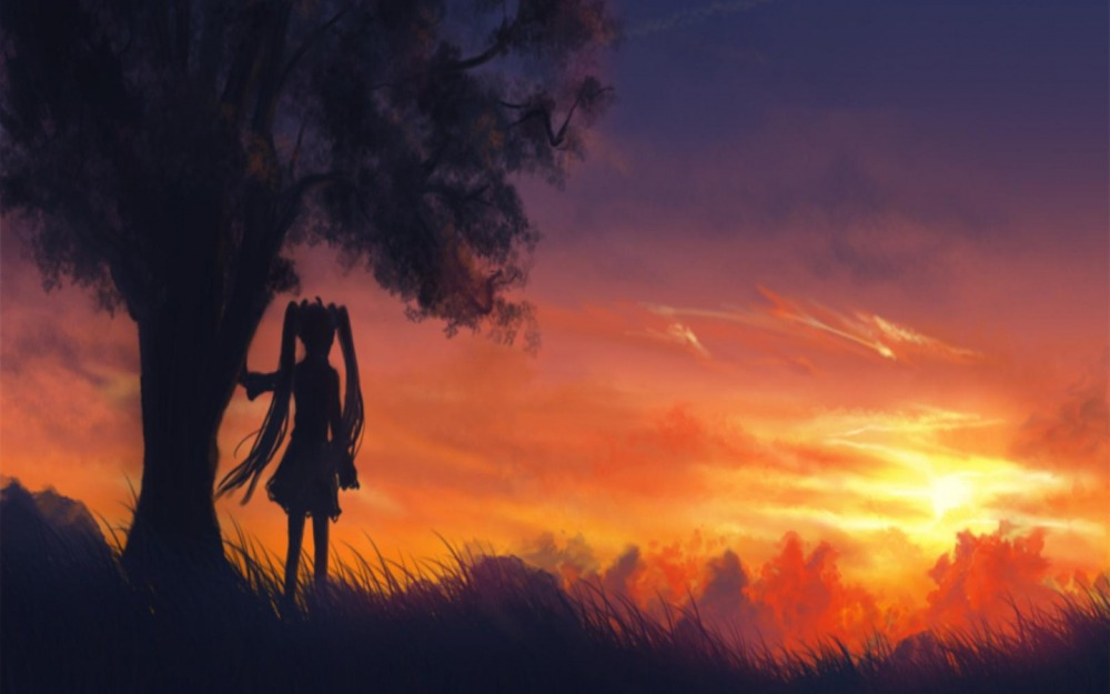 girl-under-tree-and-sunset